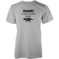 Rawr! It Means I Love You In Dinosaur Grey T-Shirt - S - Grey