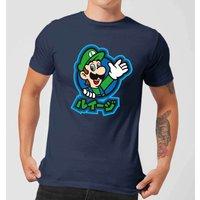 Nintendo Super Mario Luigi Kanji Men's T-Shirt - Navy - S