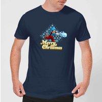 Nintendo Super Mario Mario Snowball Christmas Navy T-Shirt - M - Navy