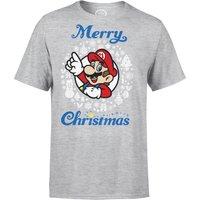 Nintendo Super Mario Mario White Wreath Merry Christmas Grey T-Shirt - M - Grey