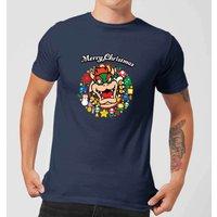 Nintendo Super Mario Bowser Merry Christmas Wreath Navy T-Shirt - S - Navy