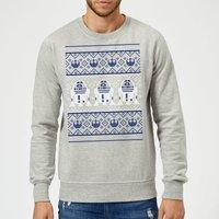 Star Wars R2D2 Christmas Knit Grey Christmas Sweatshirt - M
