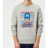 Marvel Comics Captain America Christmas Knit Grey Christmas Sweatshirt - XXL - Grey