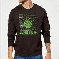 Marvel Comics The Incredible Hulk Retro Face Black Christmas Sweatshirt - L - Black