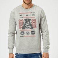 Star Wars Darth Vader Face Knit Grey Christmas Sweatshirt - S