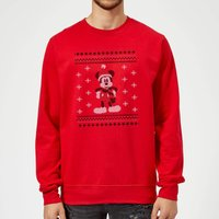 Disney Mickey Mouse Christmas Mickey Scarf Red Christmas Sweatshirt - XXL - Red