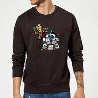 Star Wars Tangled Fairy Lights Droids Black Christmas Sweatshirt - L - Black