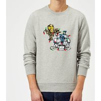 Star Wars Tangled Fairy Lights Droids Grey Christmas Sweatshirt - L