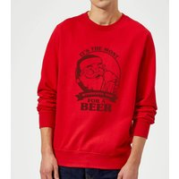 The Most Wonderful Time For A Beer Sweatshirt - Red - L - Red - Beer Gifts