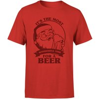 The Most Wonderful Time For A Beer T-Shirt - Red - L - Red - Beer Gifts