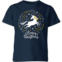 Unicorn Christmas Kids' T-Shirt - Navy - 5-6 Years - Navy