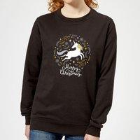 Unicorn Christmas Women's Sweatshirt - Black - XL - Black
