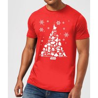 Star Wars Christmas Character Tree Red T-Shirt - XXL - Red