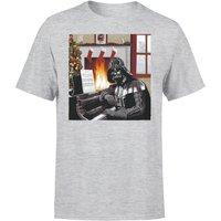 Star Wars Christmas Darth Vader Piano Player Grey T-Shirt - M - Grey