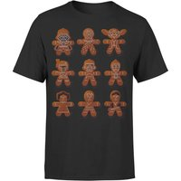 Star Wars Christmas Gingerbread Characters Black T-Shirt - XXL - Black