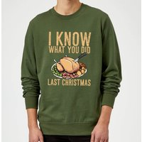 I Know What You Did Last Christmas Sweatshirt - Forest Green - L - Red