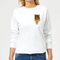 Christmas Bear Pocket Women's Sweatshirt - White - XS - White