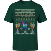 Its Beginning To Look A Lot Like Cocktails T-Shirt - Forest Green - XL - Forest Green
