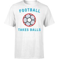 Football Takes Balls T-Shirt - White - XXL - White - Football Gifts