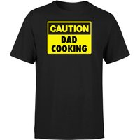 Caution Dad Cooking - Black T-Shirt - XXL - Black - Cooking Gifts