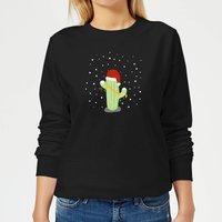 Sudadera  Cactus Gorro Papá Noel  - Mujer - Negro - XS - Negro