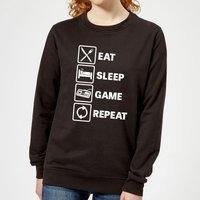 Eat Sleep Game Repeat Women's Sweatshirt - Black - XS - Black