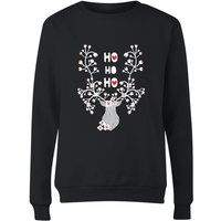 Ho Ho Ho Reindeer Women's Sweatshirt - Black - M - Black