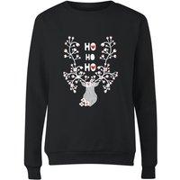 Ho Ho Ho Reindeer Women's Sweatshirt - Black - S - Black
