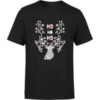 Ho Ho Ho Reindeer T-Shirt - Black - M - Black