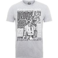 Star Wars Droids Rock Poster T-Shirt - Grey - XXL - Grey - Poster Gifts