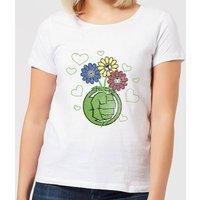 Marvel Avengers Hulk Flower Fist Women's T-Shirt - White - M - White
