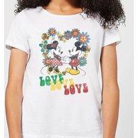 Disney Mickey Mouse Hippie Love Women's T-Shirt - White - 3XL