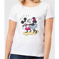 Disney Mickey Mouse Minnie Kiss Women's T-Shirt - White - S - White