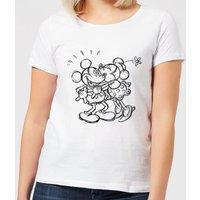 Disney Mickey Mouse Kissing Sketch Women's T-Shirt - White - 3XL