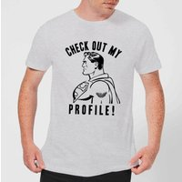 DC Comics Superman Check Out My Profile T-Shirt - Grey - XXL - Black - Superman Gifts