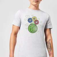 Marvel Avengers Hulk Flower Fist T-Shirt - Grey - S - Black
