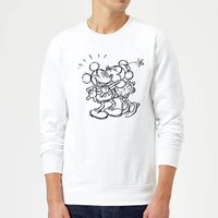 Disney Mickey Mouse Kissing Sketch Sweatshirt - White - M - White