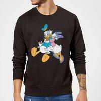 Disney Mickey Mouse Donald Daisy Kiss Sweatshirt - Black - S