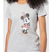 Disney Mickey Mouse Minnie Offset Women's T-Shirt - Grey - M - Grey