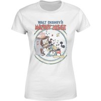 Disney Mickey Mouse Retro Poster Piano Women's T-Shirt - White - L - White - Music Gifts