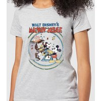 Disney Mickey Mouse Retro Poster Piano Women's T-Shirt - Grey - L - Grey - Music Gifts