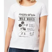 Disney Mickey Mouse Retro Poster Wild Waves Women's T-Shirt - White - M - White