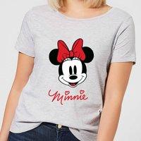 Disney Mickey Mouse Minnie Face Women's T-Shirt - Grey - S - Grey