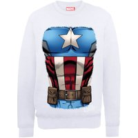 Marvel Avengers Assemble Captain America Chest Sweatshirt - White - XXL - White
