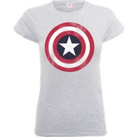 Marvel Avengers Assemble Captain America Distressed Shield Women's T-Shirt - Grey - XL - Grey