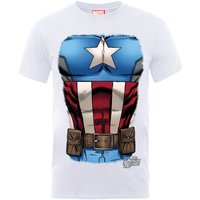 Marvel Avengers Assemble Captain America Chest T-Shirt - White - XXL - White - Superhero Gifts