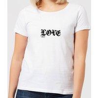 Love Gothic Text Women's T-Shirt - White - XXL - White