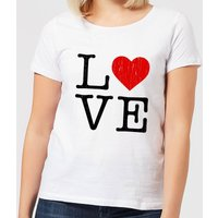 Love Heart Textured Women's T-Shirt - White - M - White