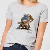 Disney Beauty And The Beast Sketch Women's T-Shirt - Grey - S - Grey