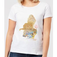 Disney Beauty And The Beast Princess Filled Silhouette Belle Women's T-Shirt - White - L - White